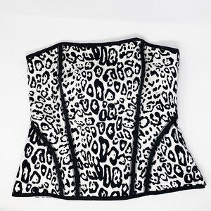 White House Black Market Strapless Leopard Top